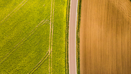Abstract pattern in farmland fields at spring, aerial view, drone photo.