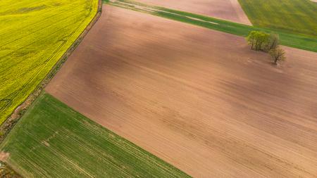 Soil before planting, farmland aerial view.
