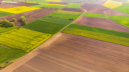 Colorful agriculture farmland at spring, aerial drone view.