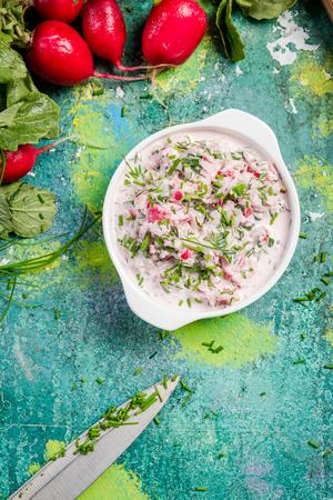 Fresh and raw radish salad, clean eating.