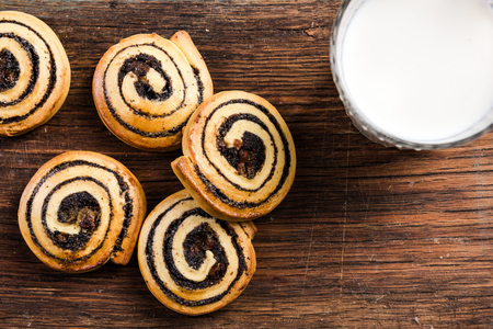 French pastry swirls served with milk.