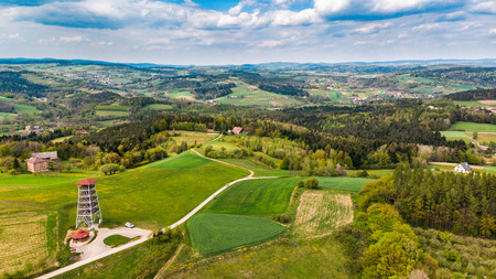 Viewing tower in Brusnik,Poland overlooking rural countryside,aerial view. Stock Photo