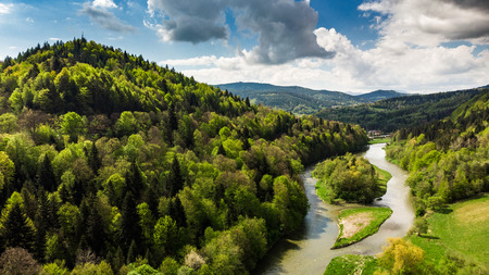 Amazing summer day landscape at Poprad river in Zegiestow,Poland.