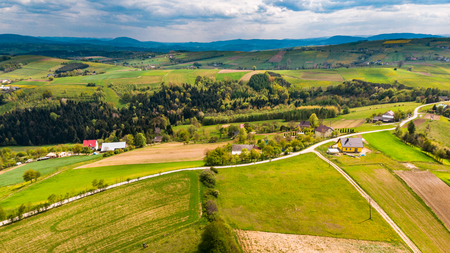 Countryside and rolling hills on rural Lesser Poland Voideship.