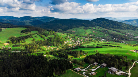 Small villages in Pieniny mountains in Poland , aerial view.
