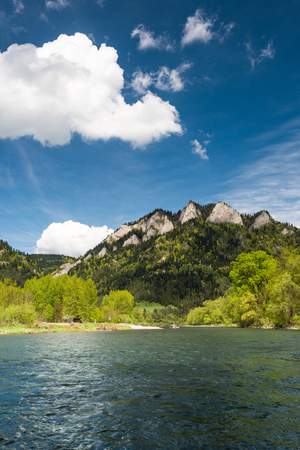 Three Crowns or Trzy Korony mountain peak over Dunajec river in Poland.