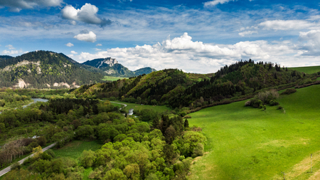 Summertime landscape at Dunajec valley in Poland, aerial view. Banco de Imagens