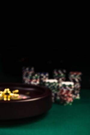 Selective Focus Casino or Roulette Theme Background with Copy Space. Archivio Fotografico - 124516578