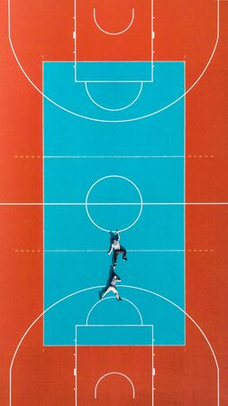 Mens Hanging from Basketball Court Line, Creative and Funny  Illusion Image.