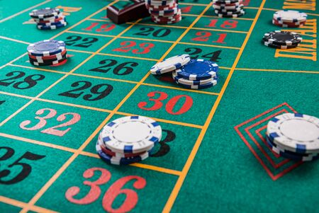 Roulette table, casino betting and gambling concept.