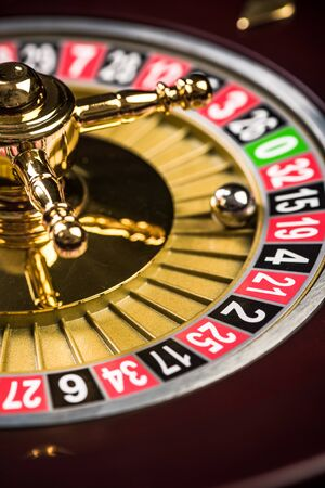 Close Up View on Roulette Drum with Lucky Numbers, Casino Theme. 版權商用圖片