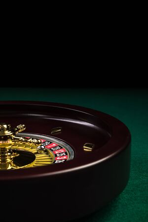 Roulette Drum on Green Casino Felt Table.