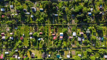 Tiny Plot Gardens, Ecology in big City, Aerial View. Standard-Bild - 124517804
