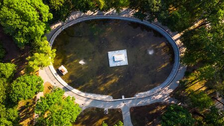 Aerial View over Strzelecki Park with Pond and Mausoleum in Tarnow, Poland. 写真素材