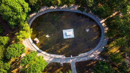 Aerial View over Strzelecki Park with Pond and Mausoleum in Tarnow, Poland. Stock fotó
