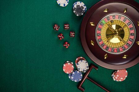 Casino Roulette Hintergrund, Ansicht von oben mit Textfreiraum.