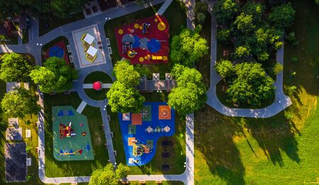 Colorful Playground in Public Park, Aerial Creative Drone Image.