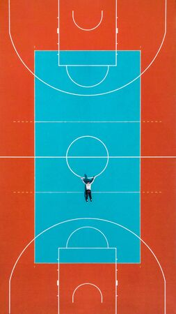 Man Hanging Down From Basketball Court Line, Creative Minimal Art. Stock Photo