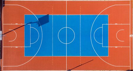 Colorful Basketball Outdoor Court, Aerial View.