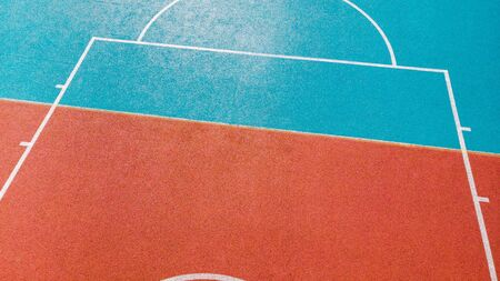 Creative view over basketball outdoor court. Stock Photo