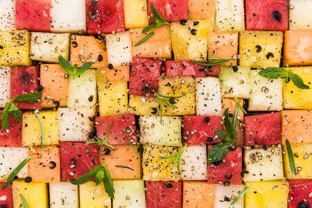 Creative Party Food, Melon and Watermelon Cubes with HErbs and Spices.
