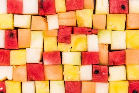 Sliced Square Pieces of Melon and Watermelon,Diet Salad,Creative Food Serving.