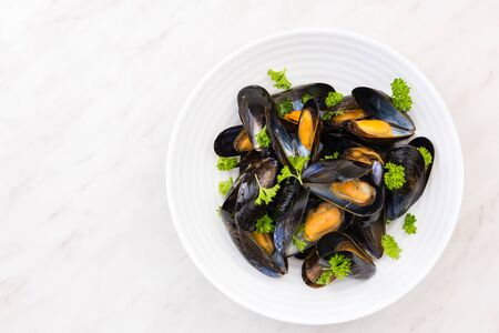 Freshly Catch Mussels Served on Plate,Seafood Restaurant Dish. 스톡 콘텐츠