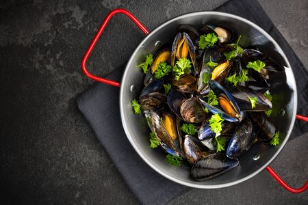 Mussels with Fresh Parsley, Seafood Dish, Top View.
