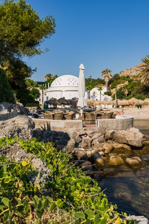 Kalithea Spring Therme and Beach, Rhodes Island, Greece.