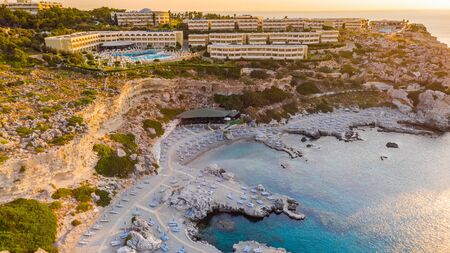 Luxury Hotel Resort with Swimming Poll and Beach Located at Cliffs in Rhodes , Greece . 版權商用圖片