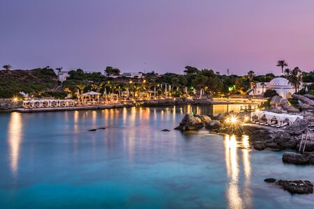 Kallithea Springs Illuminated at Evening with Water Reflection,Rhodes,Greece.