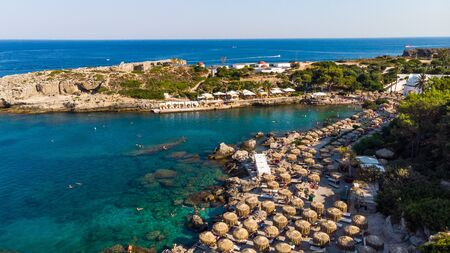 Kalithea Springs Therme and Beach, Aerial Drone View, Rhodes,Greece.