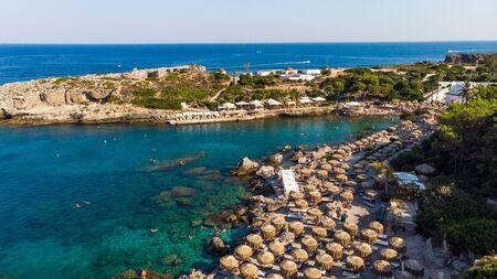 Kalithea Springs Therme und Strand, Aerial Drone View, Rhodos, Griechenland. Standard-Bild