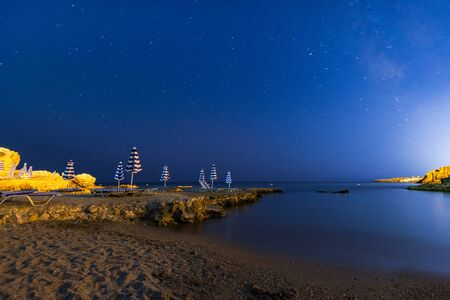Starry Night at Beach at Mediterranean Sea, Night Photography,Rhodes,Greece.
