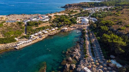 Kalithea Springs Therme und Strand, Aerial Drone View, Rhodos, Griechenland.