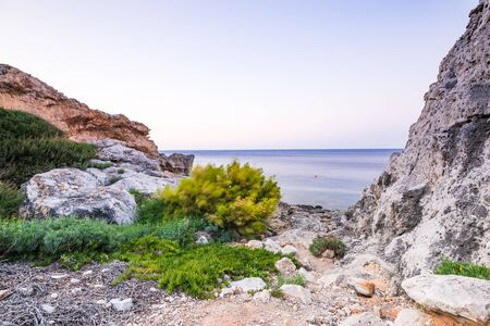Beautiful Wild Beach with Flora in Kalithea,Rhodes,Greece.