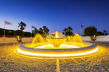 Fountain at Kalithea Springs Therme Illuminated at Night, Rhodes,Greece.
