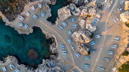 Beach at Sunrise, Rhodes Greek Island, Aerial View.