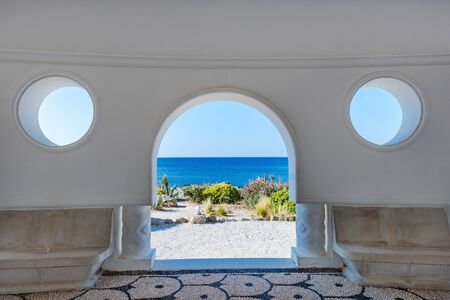 Kalithea Springs Therme Beautiful Arch with Sea View, Rhodes,Greece.