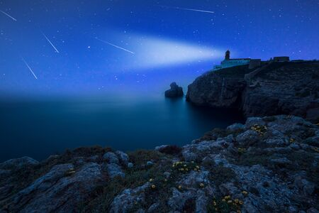 Perseid Meteor Shower at Lighthouse de Sao Vicente, Algarve, Portugal.
