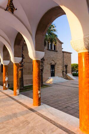 Saint Nectarios Orthodox Church in Faliraki, Greece, Rhodos Island. Exterior Sunset View. 版權商用圖片