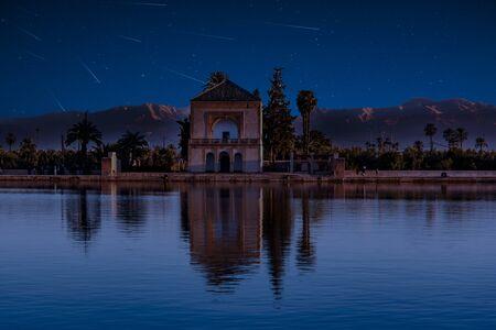 Perseid MEteor Shower at Menara gardens in Marrakech, Morocco, Africa.