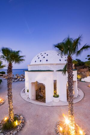Kalithea Spring Therme Illuminated at Blue Hour after Sunset, Rhodes,Greece.