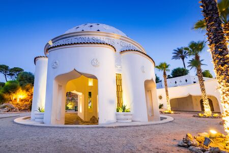 Kalithea Springs Therme at Evening, Architecture Exterior, Greece.
