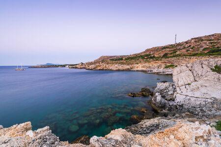 Blue Lagoon and Clifs at Kalithea Beach in Rhodes,Greece.