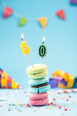 Thirtieth 30th Birthday Card with Candle in Colorful Macaroons and Sprinkles. Card Mockup.