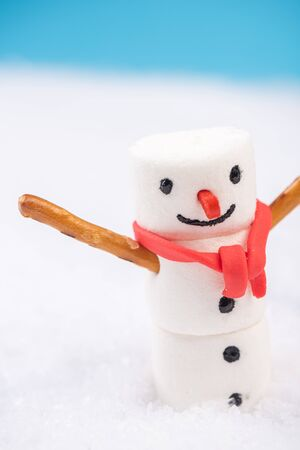 Smiling Festive Marshmallow Snowman in Snow. Christmas Festive Card.