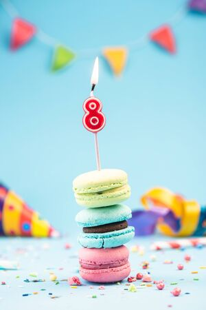 Eighth 8th Birthday Card with Candle in Colorful Macaroons and Sprinkles. Card Mockup.