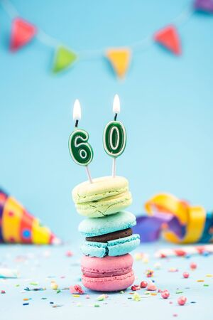 Sixtieth 60th Birthday Card with Candle in Colorful Macaroons and Sprinkles. Card Mockup.