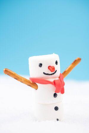 Happy Snowman in Snow. Marshmalow Sweet Festive Food.